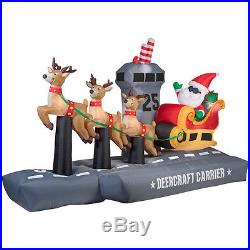 13 FT SANTA AND SLEIGH AIRCRAFT CARRIER Airblown Lighted Yard Inflatable