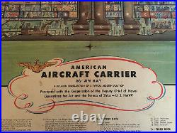 1944 Color Cutaway US Navy Aircraft Carrier Ship WW2 Poster, kind of rough