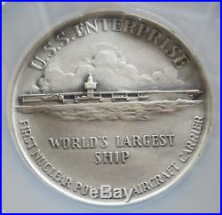 1960 SILVER U. S. S. ENTERPRISE AIRCRAFT CARRIER 63.5 mm MEDAL NGC MINT STATE 68