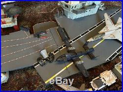 1985 GI Joe USS Flagg Aircraft Carrier with Keel Haul, Working Microphone Planes