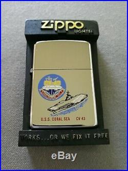 1985 Uss Coral Sea Cv-43 Aircraft Carrier 6-color High Polish Zippo Lighter Mib