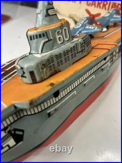 AIRCRAFT CARRIER With3 PLANES 8.75 JAPANESE TIN FRICTION BOAT CRAGSTAN WITH BOX
