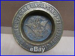 Aircraft Carrier USS Carl Vinson CVN70 Maiden Deployment 1983 Brass Ashtray