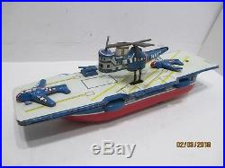 Aircraft Carrier With Working Helicopter Excellent Condition Made N Japan