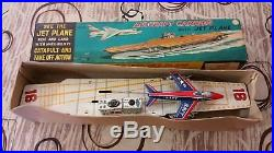 Bandai Japan Aircraft Carrier With Jet Plane Friction Tin Toy'50 Box Vintage