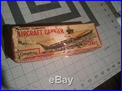 Cragstan tin toyVINTAGE AIRCRAFT CARRIER USS Saratoga by YanoMan Japanese Fricti