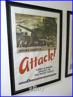 ENEMY SIGHTED ATTACK! US Navy WWII Poster Aircraft Carrier F4F Wildcat FALTER 42