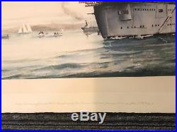 Early Aviation! Eugene Ely 1st Aircraft Carrier Lithograph John T. McCoy Jr