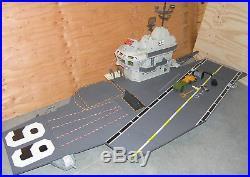GI Joe USS Flagg Aircraft Carrier Mostly Complete 1985 Keel Haul Fan Deck Railin