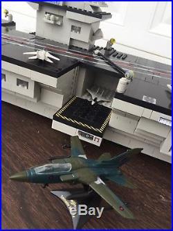 MEGABLOKS Uss Kittyhawk Aircraft Carrier 3 feet long and BONUS diecast aircraft