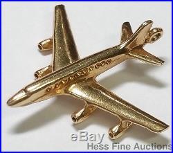 Massive Airplane Jet Jetliner Aircraft Carrier Aviation Charm 14k Gold Pendant