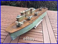 Model boat. Pre war aircraft carrier built late 1920s. Working clockwork motors