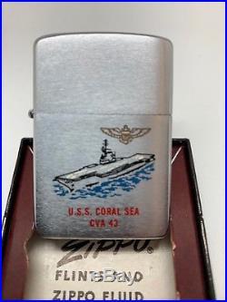 NAVY U. S. S. S CORAL SEA CVA-43 Aircraft Carrier Town & Country Zippo 1959 MIB