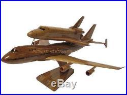 Nasa Space Shuttle Orbiter Rocket SCA 747 Carrier Aircraft Wood Wooden Model