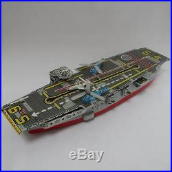 Nomura Toy Aircraft Carrier Friction Tin Toy Figure Vintage withBox Made in Japan