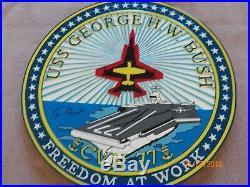 President Bush autographed Bush aircraft carrier wooden plaque-Ship's Seal