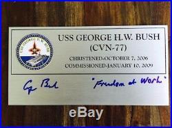 President Bush autographed USS Bush aircraft carrier plaque