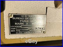 Rare Antique WW2 US NAVY BUREA of ORDNANCE SHIP FUSE BOX 1944 Aircraft Carrier