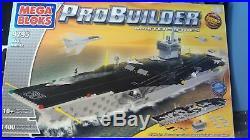 Rare MEGA BLOKS PRO BUILDER 9795 USS NIMITZ Assembled Lego Aircraft Carrier HTF