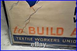 Rare Original Vintage WWII Poster Buy War Bonds Aircraft Carrier Textile Workers