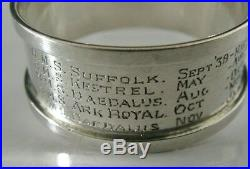 Rare Silver Royal Navy Pilot Napkin Ring Wwii Aircraft Carriers 1933 Military