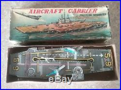 Rare japan Vintage tin Aircraft Carrier in box