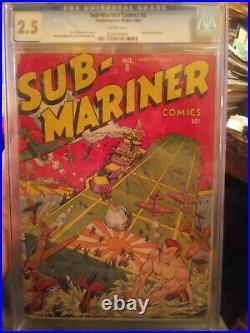 Sub-Mariner Comics #8 CGC 2.5 Rare Schomburg Japanese Aircraft Carrier War Cover