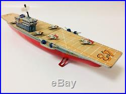 Tin of Aircraft Carrier Bandai Vintage Rare (1960 Year) Tin Toy Japan 15