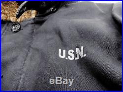 USN N1 Navy Aircraft carrier Deck Jacket New Surface Navy Blue. Fast Shipping