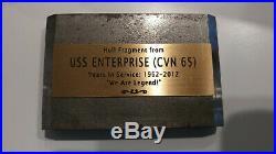USS Enterprise CVN-65 Hull Section piece of first nuclear aircraft carrier ship