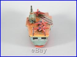 VINTAGE AIRCRAFT CARRIER USS Saratoga by YanoMan Japanese Friction Tin Toy