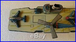 VINTAGE CRAGSTAN WWII ERA NAVY AIRCRAFT CARRIER TIN FRICTION TOY NS Japan