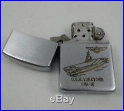 Vintage 1950-1954 U. S. S. Yorktown CVA-10 Zippo Lighter Navy Aircraft Carrier