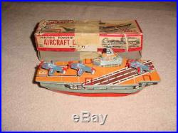 Vintage Cragstan AIRCRAFT CARRIER FRICTION TOY JAPAN MAKER IN BOX NAVY PLANES