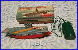 Vintage Cragstan Tin Aircraft Carrier With Siren Battery Powered Remote Control