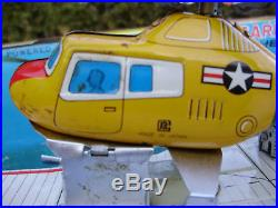 Vintage Tin Japan Cragstan Aircraft Carrier Forestal With Helicopter Friction