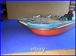 Vintage Tin Litho Aircraft Carrier toy boat Wolverine toys 17 Inches With Planes