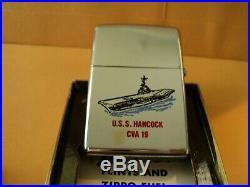 Vintage UNFIRED 1970 Zippo Lighter US Navy Aircraft Carrier USS Hancock CVA-19