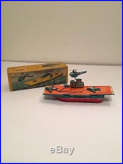 Vtg Japan Sonsco Ns Tin Friction Aircraft Carrier Revolving Helicopter With Box