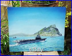 WWII Nov 1944 Spitfire Aircraft Carrier Gibraltar Oil Painting Ron Curtiss