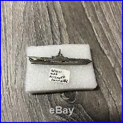WWII Sterling Silver U. S. NAVY Ship 32 Aircraft Carrier PIN Vintage Military