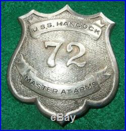 WWII US Navy USS Hancock CV-19 Master At Arms MAA Badge Pin Aircraft Carrier #'d