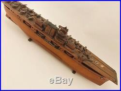 Wooden Navy Aircraft Carrier Ship USS Lexington Biplanes WWII Folk Art Petitte