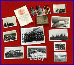 Ww2 F. A. A. Medal Grouping In Issue Box + Award Slip & 10 Photos. Aircraft Carrier